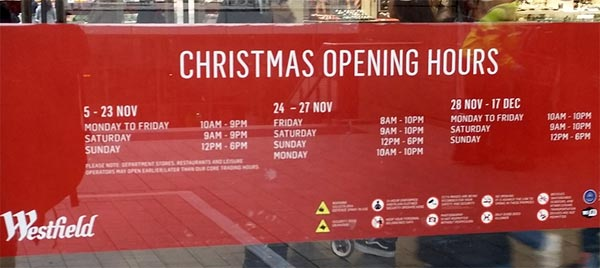 Westfield Stratford Christmas opening times 2017 poster
